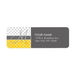 Yellow Quatrefoil and Grey Polka Dot Pattern Return Address Label