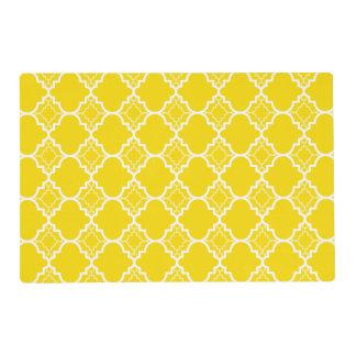 Yellow Quatrefoil Geometric Pattern Laminated Place Mat