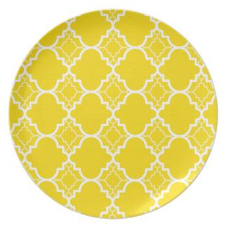 Yellow Quatrefoil Geometric Pattern Plate