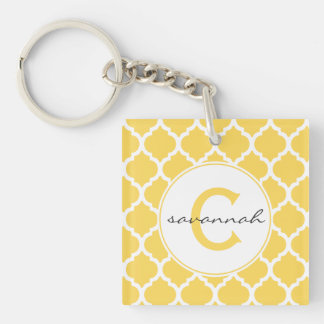 Yellow Quatrefoil Monogram Acrylic Keychains
