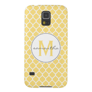 Yellow Quatrefoil Monogram Galaxy S5 Cover