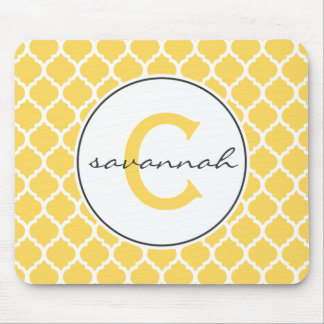 Yellow Quatrefoil Monogram Mouse Mat