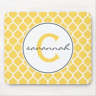 Yellow Quatrefoil Monogram Mouse Pad