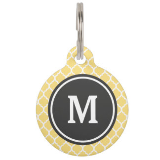 Yellow Quatrefoil Monogram Pet Tag