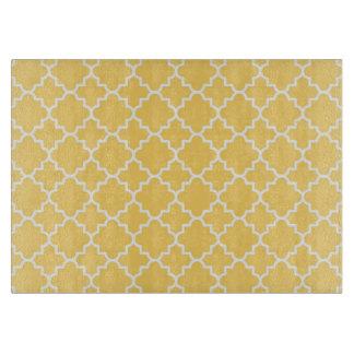 Yellow Quatrefoil Pattern Cutting Board