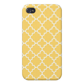 Yellow Quatrefoil Pattern iPhone 4 Cover