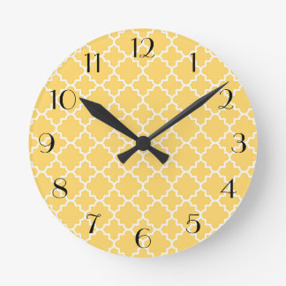 Yellow Quatrefoil Pattern Round Clock