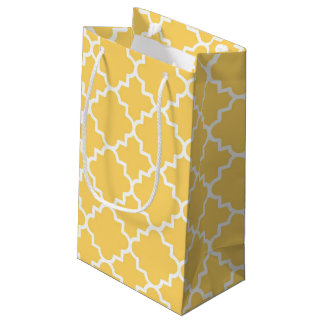 Yellow Quatrefoil Pattern Small Gift Bag