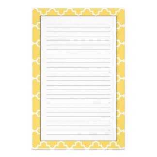 Yellow Quatrefoil Pattern Stationery