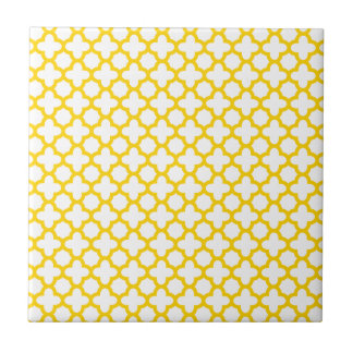 Yellow Quatrefoil Pattern Tile