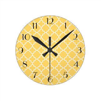 Yellow Quatrefoil Pattern Wall Clocks
