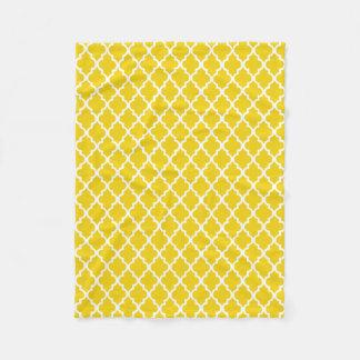 Yellow Quatrefoil Tiles Pattern Fleece Blanket