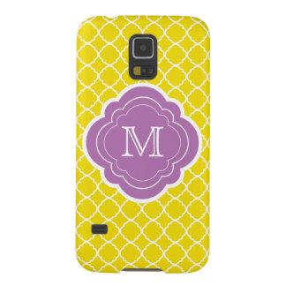 Yellow Quatrefoil with Purple Monogram Galaxy S5 Case