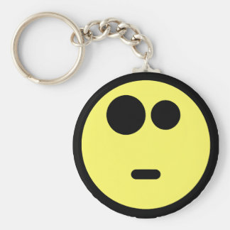 Yellow Questioning Smiley Face Basic Round Button Key Ring
