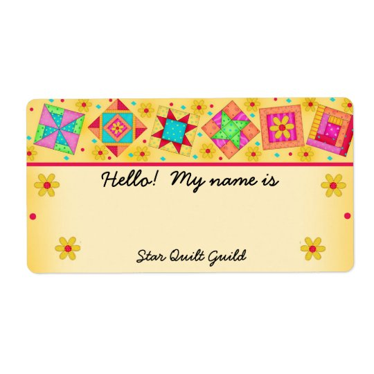 Yellow Quilt Blocks Quilters Name Tag