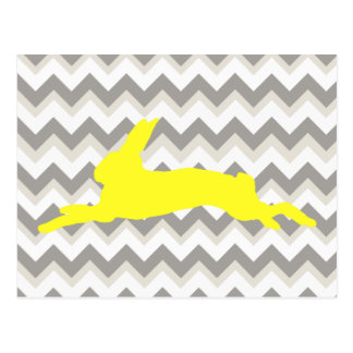 Yellow Rabbit Silhouette on Chevron Stripes Postcard