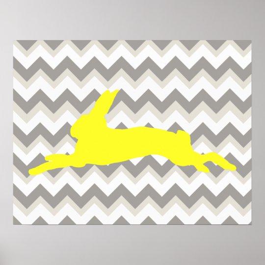 Yellow Rabbit Silhouette on Chevron Stripes Poster