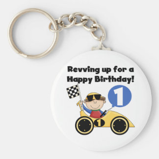 Yellow Race Car 1st Birthday T-shirts and Gifts Keychains