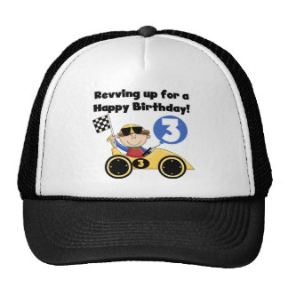 Yellow Race Car 3rd Birthday T-shirts and Gifts Cap
