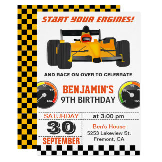 Yellow Race Car Racing Birthday Party Invitation