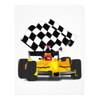 Yellow  Race Car with Checkered Flag 21.5 Cm X 28 Cm Flyer