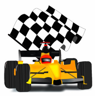 Yellow  Race Car with Checkered Flag Standing Photo Sculpture