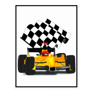 Yellow Race Car with Checkered Flag Post Cards