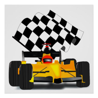 Yellow  Race Car with Checkered Flag Poster