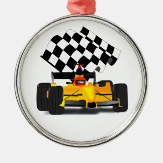 Yellow  Race Car with Checkered Flag Silver-Colored Round Decoration
