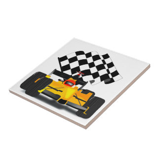 Yellow  Race Car with Checkered Flag Small Square Tile