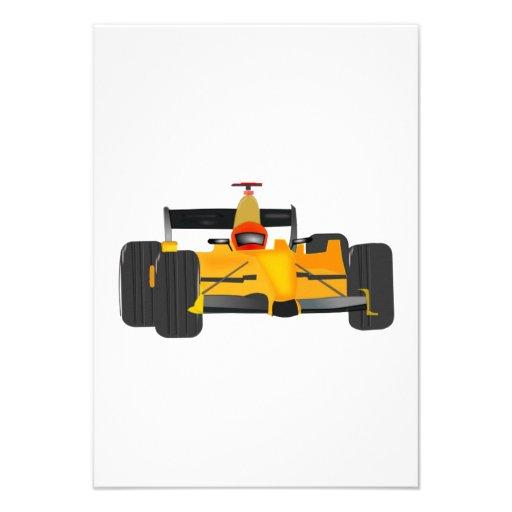 Yellow Racecar Personalized Invitation