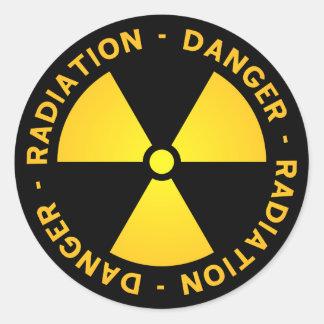 Yellow Radiation Warning Round Sticker