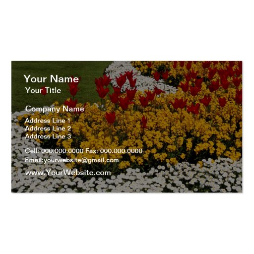 yellow Rainbow flowerbeds flowers Business Card Templates