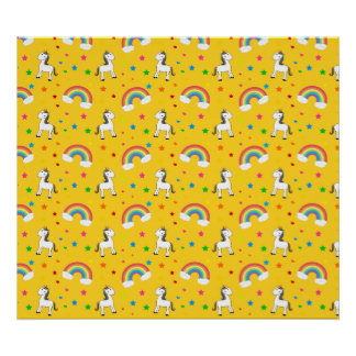 Yellow rainbow unicorn hearts stars pattern print