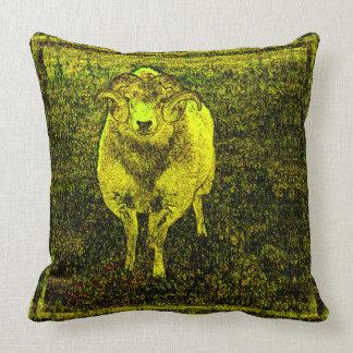 Yellow Ram Spiral Horns Vintage Style Original Art Throw Pillow