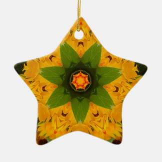Yellow ray christmas ornament