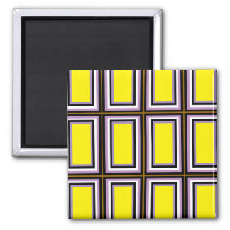 Yellow Rectangles Square Magnet