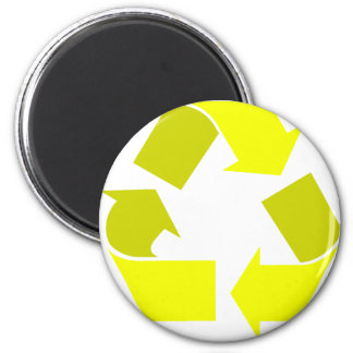 yellow recycle 6 cm round magnet