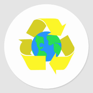 yellow recycle round stickers