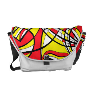 Yellow Red Abstract Courier Bags