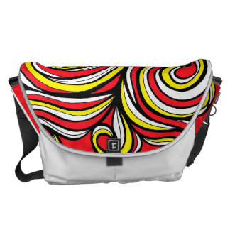 Yellow Red Abstract Messenger Bag