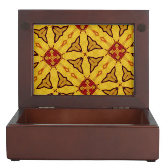 Yellow red abstract pattern keepsake boxes