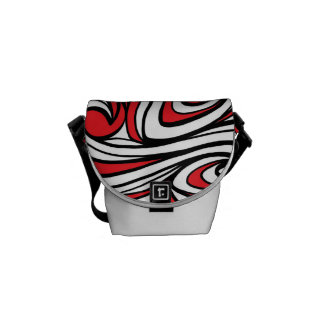 Yellow Red Black Abstract Messenger Bag