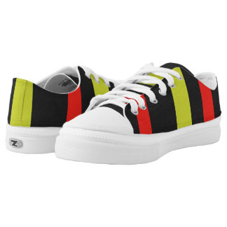 Yellow red black line pattern printed shoes