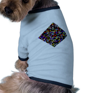 Yellow, Red, Blue, Cream, Violet Flowers On Black Pet Clothing