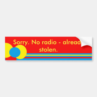 Yellow Red Blue Design Car Bumper Sticker