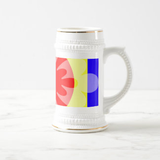yellow red blue flower coffee mugs