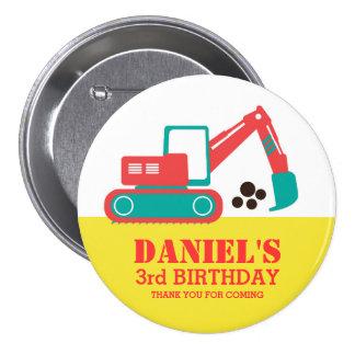 Yellow Red Cartoon Excavator Kids Birthday Button