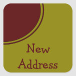 Yellow Red Circle New Address Stickers
