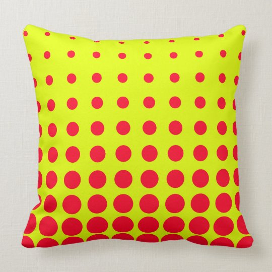 Yellow & Red Colourful Vector abstract dot Throw Pillow